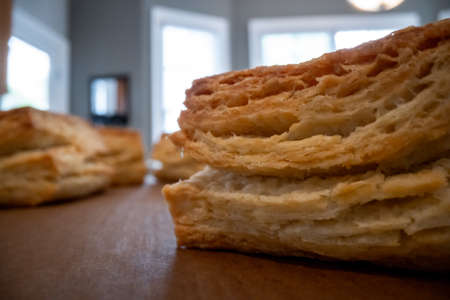 Layers of Flaky Square Biscuits from low angle