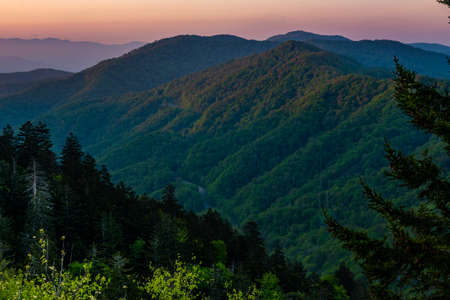Light Catches the Tops Of Mountains in Smokies valley