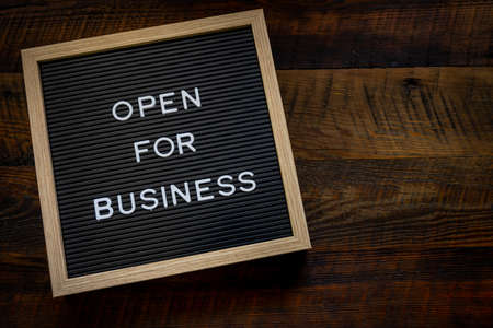 Open For Business Sign with Copy Space