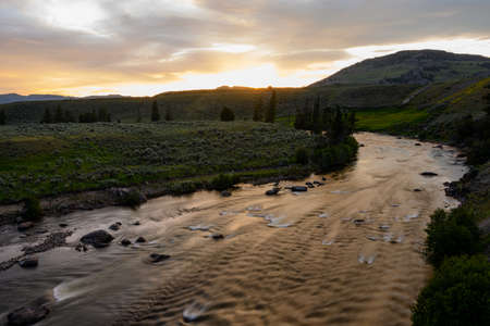 Sunlight Fades Over Yellowstone River heading into Lamar valley Reklamní fotografie