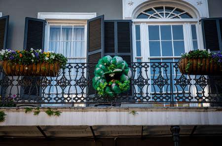 St Patricks Day Decoration on Balcony Railing