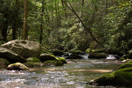 West Prong of LIttle River Flows Through Boulders of Great Smoky Mountains National Park