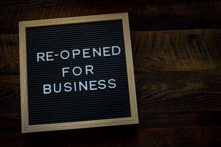 Re-Opened For Business Message with Copy Space to right Фото со стока