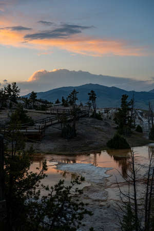 Sunset Light Flows Over Shallow Geyser Pools in Mammoth Hot Springs