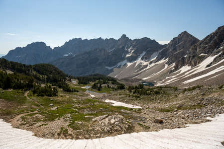 Wide View of Paintbrush Canyon From Atop Snowy Trail in Grand Teton National Park