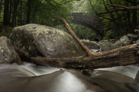 Water Rushes Through Boulder Filled Creek near the Chimney Tops picnic area in Great Smoky Mountains National Park