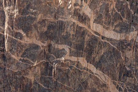 White Streaks In the Layered Rock Wall In Black Canyon of the Gunnison