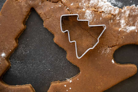 Christmas Tree Cookies Made Out of Gingerbread Dough