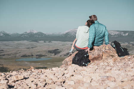 Couples overlook over Yellowstone wilderness