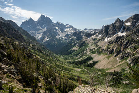 The Back Side of Grand Teton and Cascade Canyon Below in summer