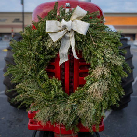 White Bow with Green Live Wreath On Bright Red Tractor in outdoor market