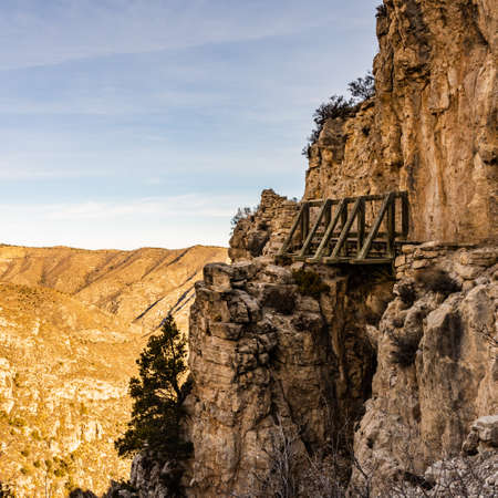 Wooden Bridge Clings to Side of Cliff on the Trail to Guadalupe Peak in West Texas