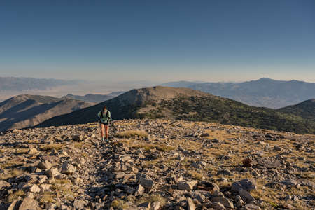 Woman Hikes Through Rocky Field on the way up to Wheeler Peak in Great Basin National Park Standard-Bild