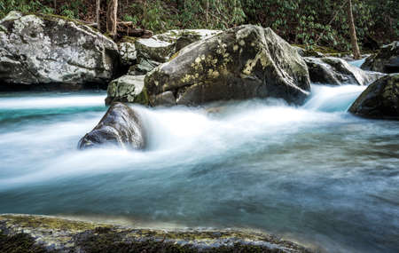 White Water Rushes Around Lichen Coverd Boulders in a winter creek in Great Smoky Mountains National Park
