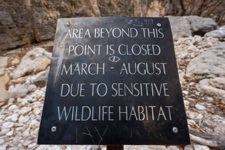 Sensitive Wildlife habitat Sign plays a role in protecting bird species in Guadalupe Mountains national Park
