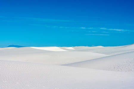 Layers of White Sand Dunes on Blue Sky Day in New Mexico