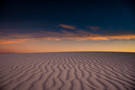 Navy Sunset Sky Over Leading Dune Lines in White Sands National Park Editorial