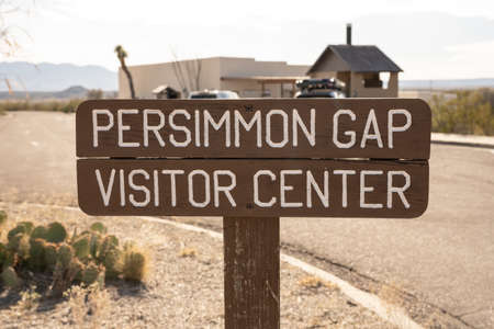 Persimmon Gap Visitor Center Sign on the North boundary of Big bend National Park Editorial