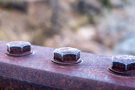 Rusty Bolts On Bridge Covered In Frost in Zion National Park