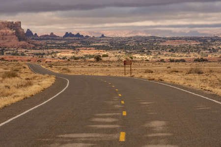 Road Curves Toward The Entrace to The Needles District