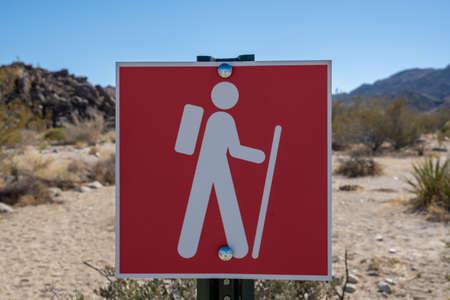 Red Hiking Sign In Joshua Tree Desert at trailhead