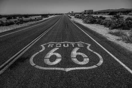 Route 66 Through California Desert in Black and White