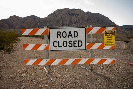 Road Closed Sign On Dirt Road at trailhead in Big bend national park
