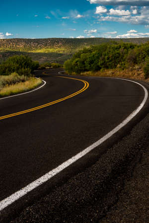 S Curve Road With Blue Sky in Black Canyon of the Gunnison National Park