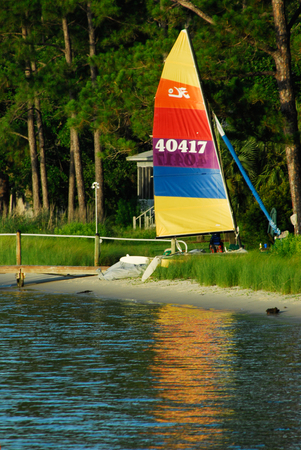 Catamaran Beached on Shore in Alabama