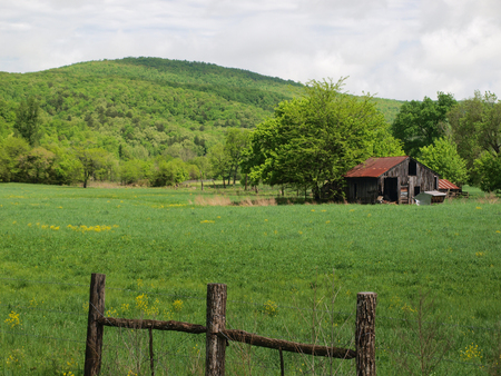 Old Barn In Front of Mountains in Northwest Arkansas
