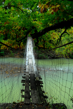 old Swinging Bridge over Mulberry River in Arkansas