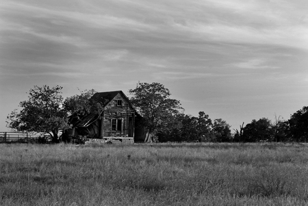 Old Home Falling Down in Black and White