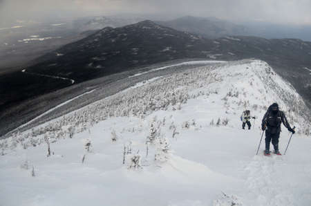 Hikers Climb the Shoulder of Whiteface Mountain
