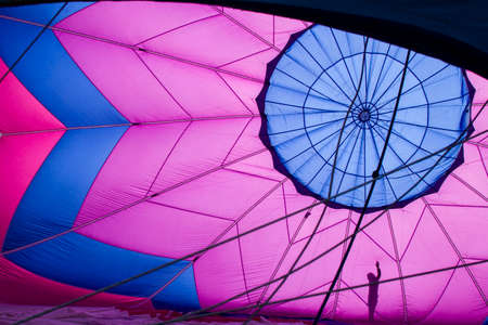 inflate: Inside view of a hot air balloon Stock Photo
