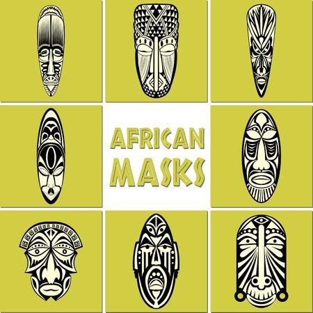 Afrikaanse maskers Set. Geen transparantie en gradiënten.