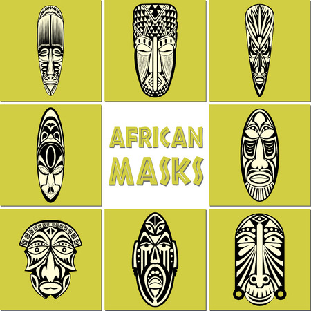 African Masks Set. No transparency and gradients used.