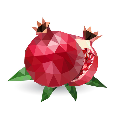 tessellated: Vector illustration of a pomegranate rendered in a geometric style Illustration