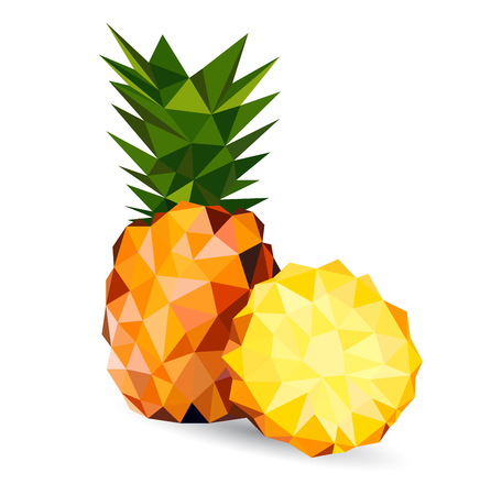 tessellated: Vector illustration of a pineapple rendered in a geometric style