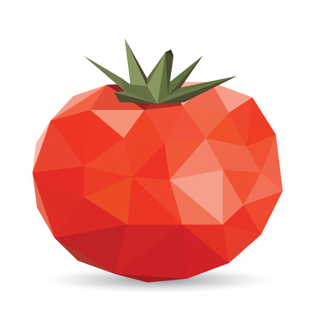 tessellated: Vector illustration of a tomato rendered in a geometric style