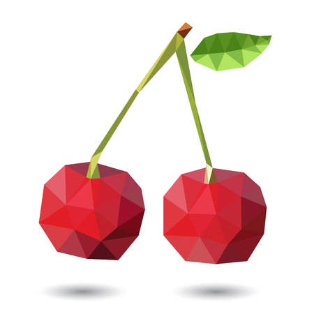tessellated: Vector illustration of a cherry rendered in a geometric style