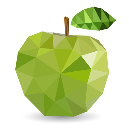geometric style: Vector illustration of an apple rendered in a geometric style