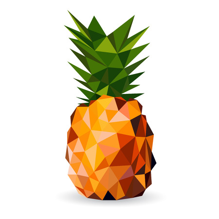 contemporary style: Vector illustration of a pineapple rendered in a geometric style