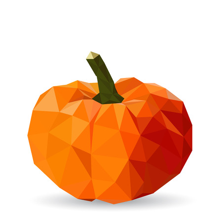 Vector illustration of a pumpkin rendered in a geometric style Vettoriali