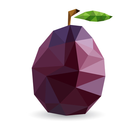 Vector illustration of a plum rendered in a geometric style Vettoriali