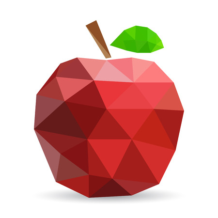 tessellated: Vector illustration of an apple rendered in a geometric style