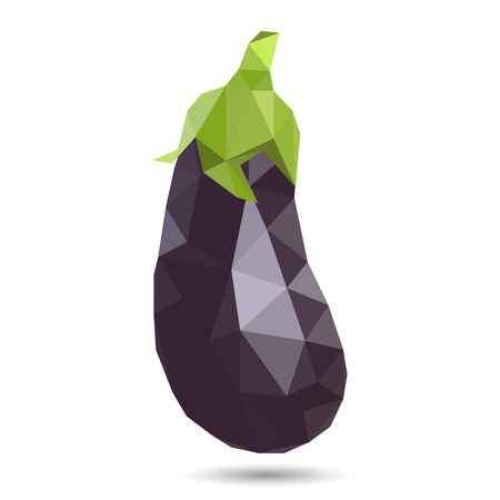 tessellated: Vector illustration of an eggplant rendered in a geometric style