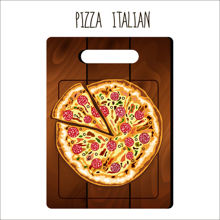 margherita: Pizza on the board on a white background. Illustration