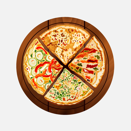 margherita: Pizza on the board on a white background