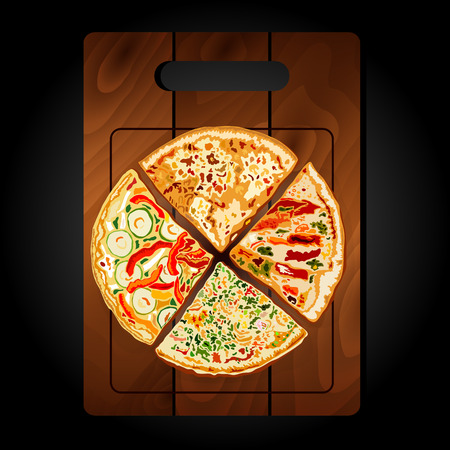 onion slice: Pizza on the board on a black background.