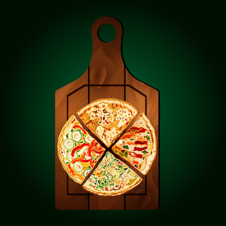 margherita: Slices of pizza on the board on a green background.